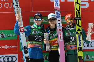 Podium zawodów - Ryoyu Kobayashi, Domen Prevc, Markus Eisenbichler (fot. Julia Piątkowska)