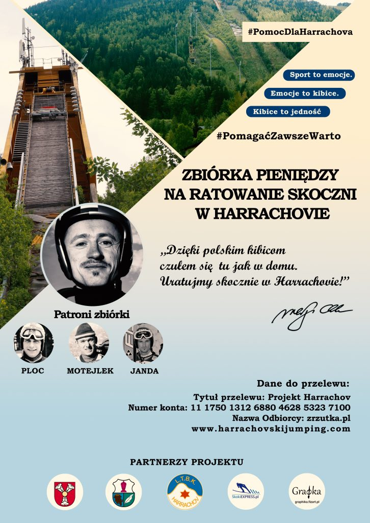 Plakat 1 726x1024 - Polacy mogą wspierać zbiórkę na odbudowę skoczni w Harrachovie na Zrzutka.pl