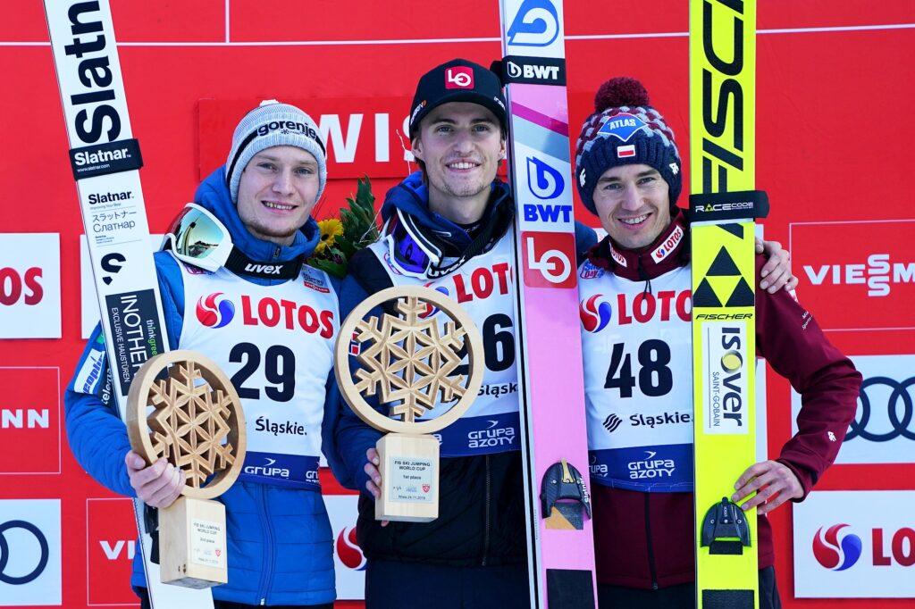 Podium konkursu (od lewej: Lanisek, Tande, Stoch), fot. Julia Piątkowska