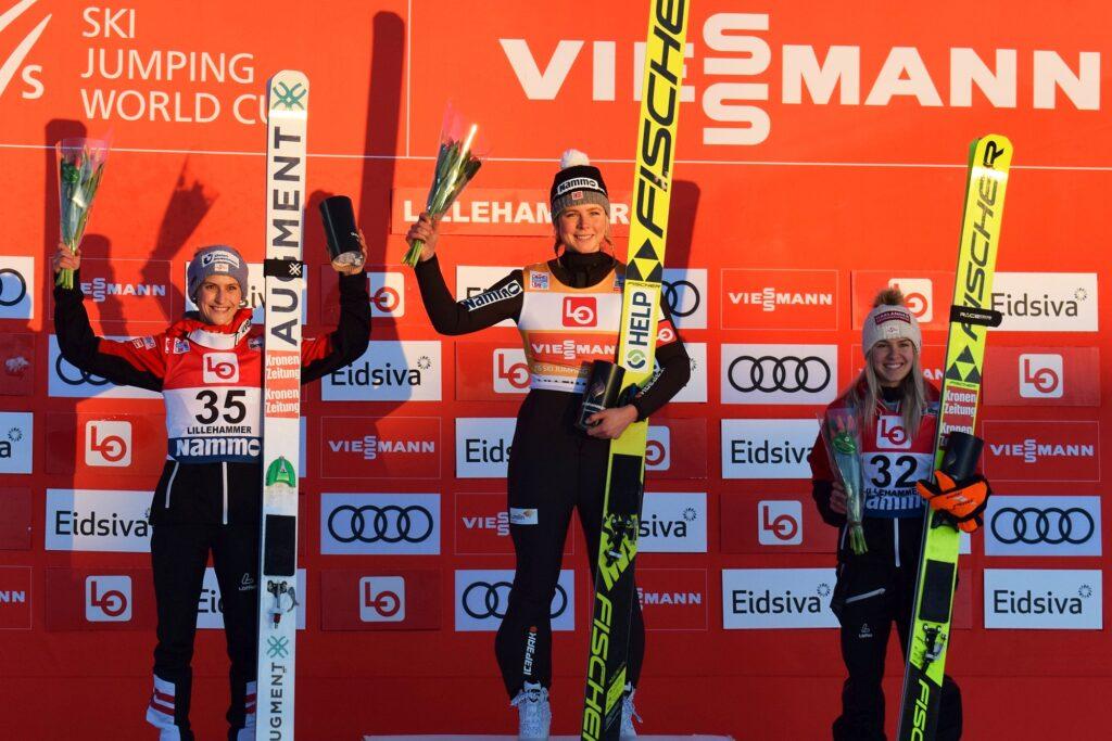 Podium konkursu (od lewej: Pinkelnig, Lundby, Hoelzl), fot. Martyna Ostrowska
