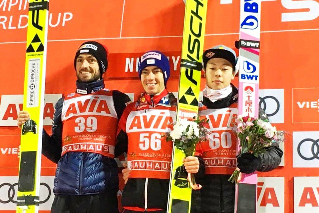 Podium konkursu (od lewej: K.Peier, S.Kraft, R.Kobayashi), fot. Nizhny Tagil FIS Ski Jumping World Cup