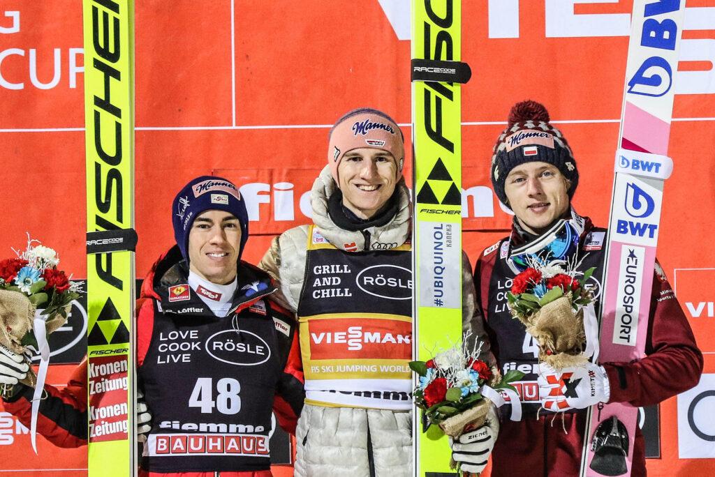 Podium konkursu (od lewej: Kraft, Geiger, Kubacki), fot. Konstanze Schneider