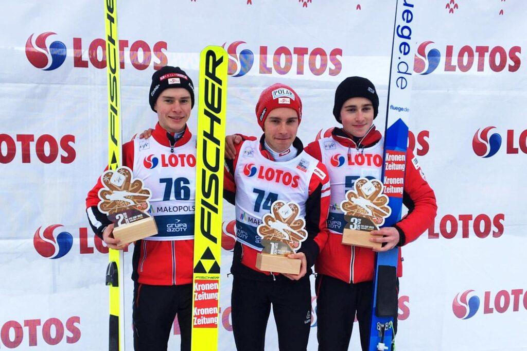 Podium konkursu (od lewej: Rainer, Steiner, Ritzer), fot. Dominika Karoń