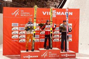Podium konkursu (od lewej: K.Geiger, S.Kraft, D.A.Tande), fot. Anna Trybuś