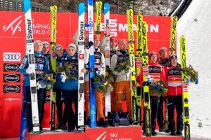 Podium konkursu (od lewej: Słoweńcy, Niemcy, Austriacy), fot. Anna Libera