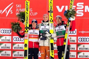 Podium konkursu (od lewej: S.Kraft, K.Geiger, M.Hayboeck), fot. Anna Trybuś